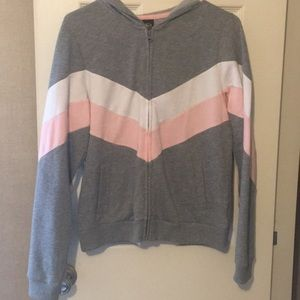 Grey, white, pink chevron pattern jacket